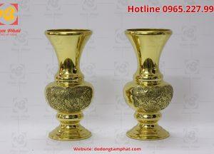 Đôi lọ hoa bằng đồng màu vàng cao 45 cm (1)