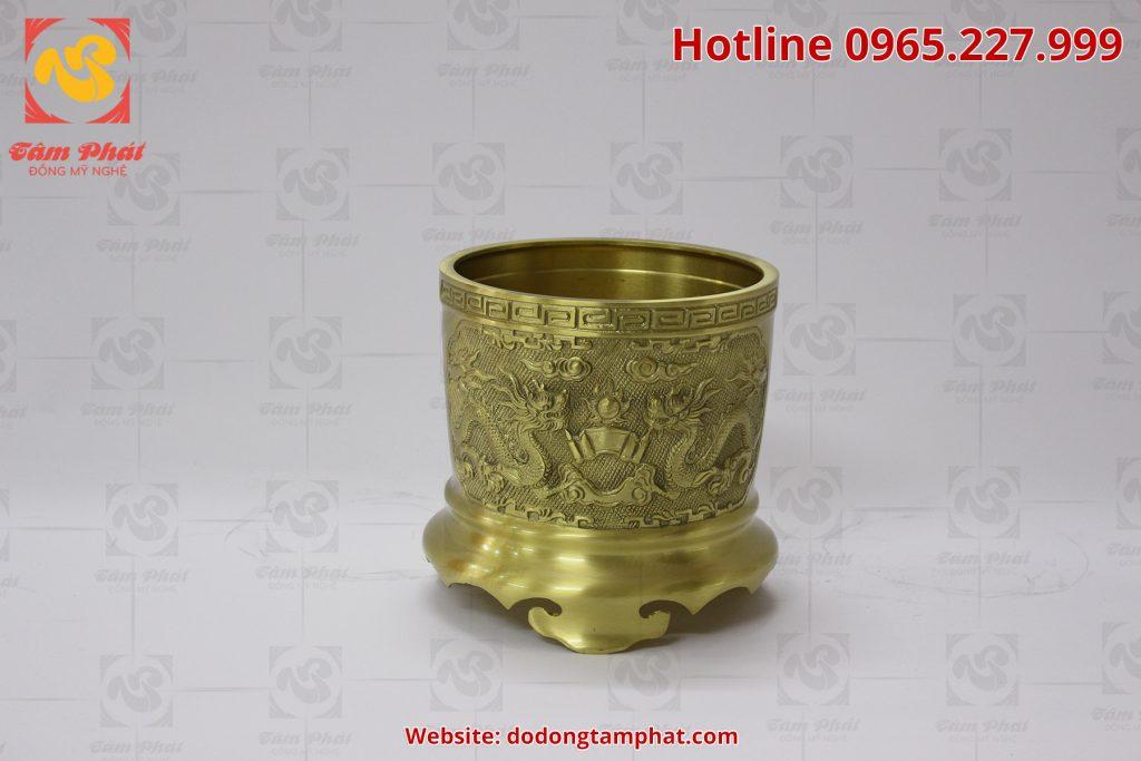 Bát hương bằng đồng màu mộc mạ đường kính 20 cm