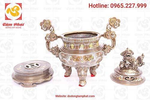 Đỉnh đồng cao 50cm khảm vàng 9999 5 chữ Phúc Lộc Thọ Khang Ninh