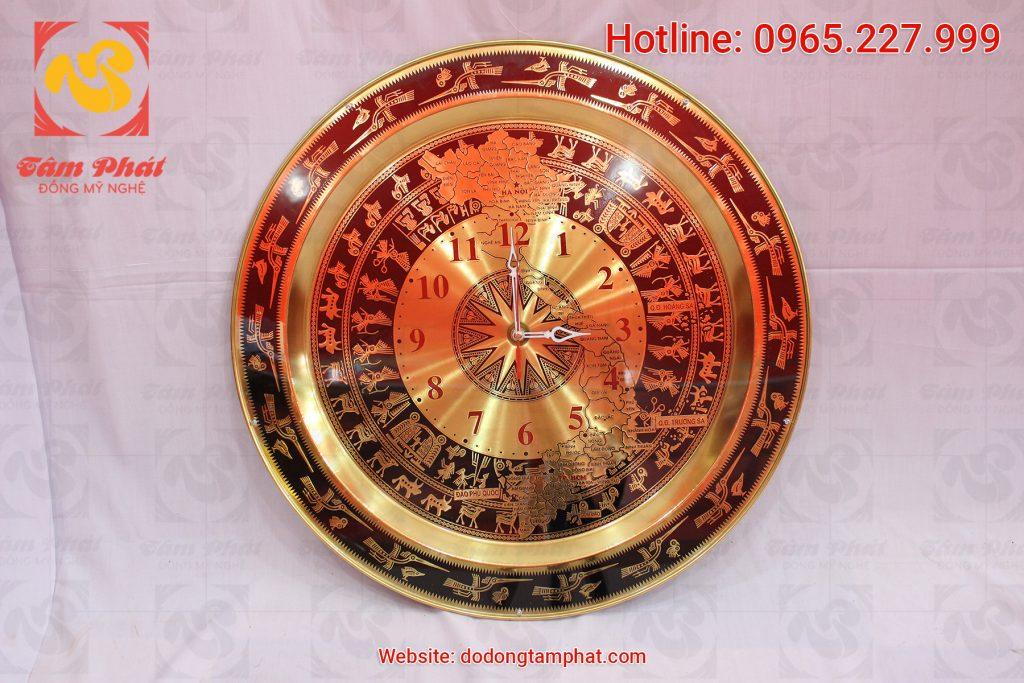 Quà tặng đồng hồ khắc Mặt trống đồng bản đồ Việt Nam