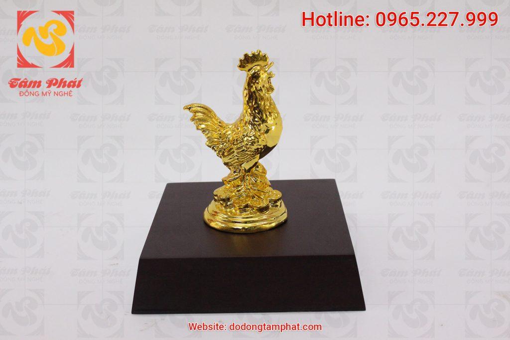 Tượng gà tài lộc mạ vàng cao 12 cm