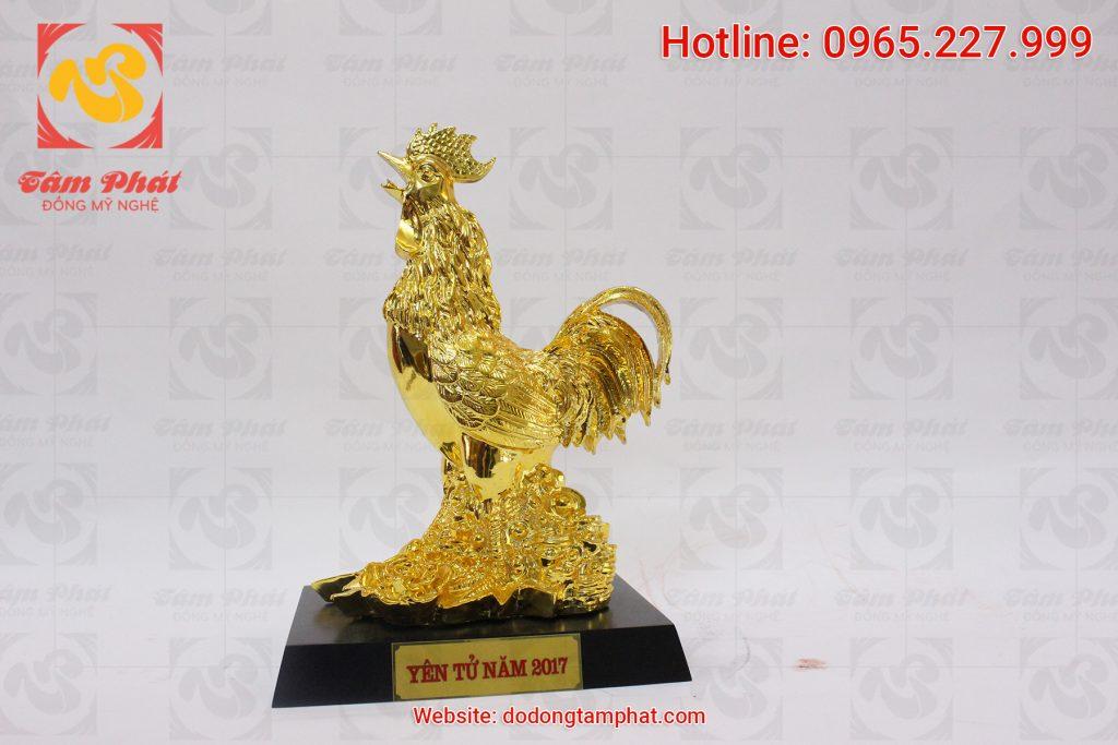 Tượng gà trống phong thủy mạ vàng cao 30 cm