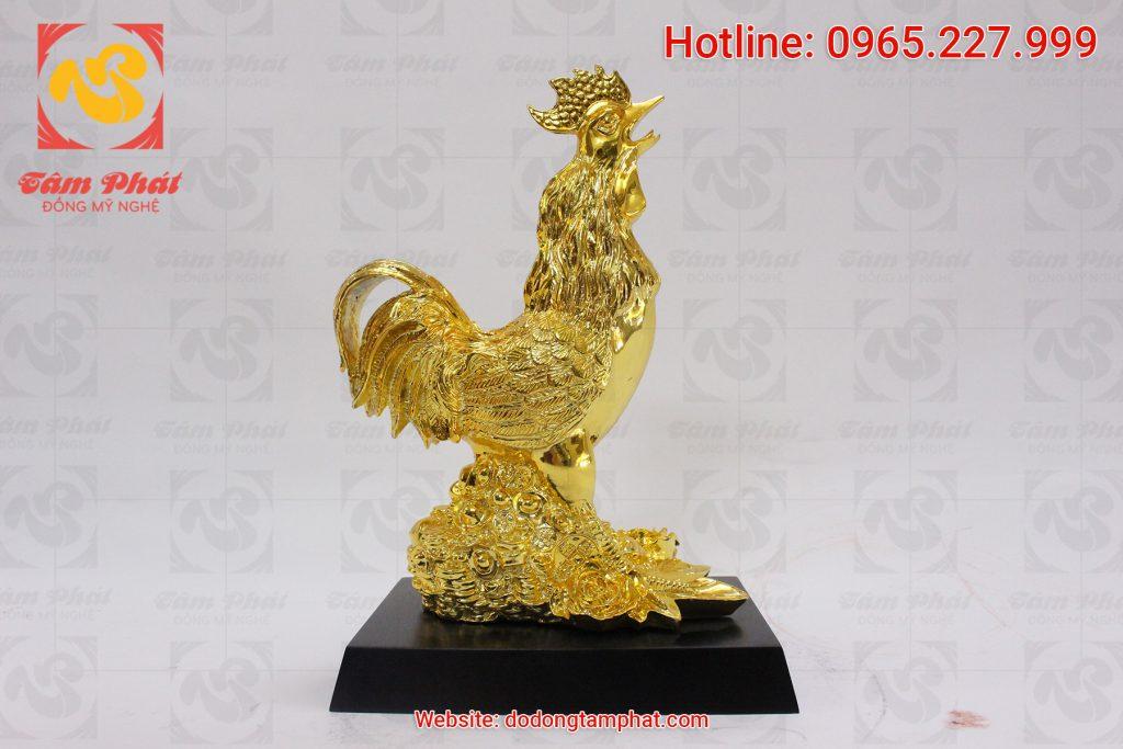 Tượng gà trống bằng đồng mạ vàng cao 30 cm