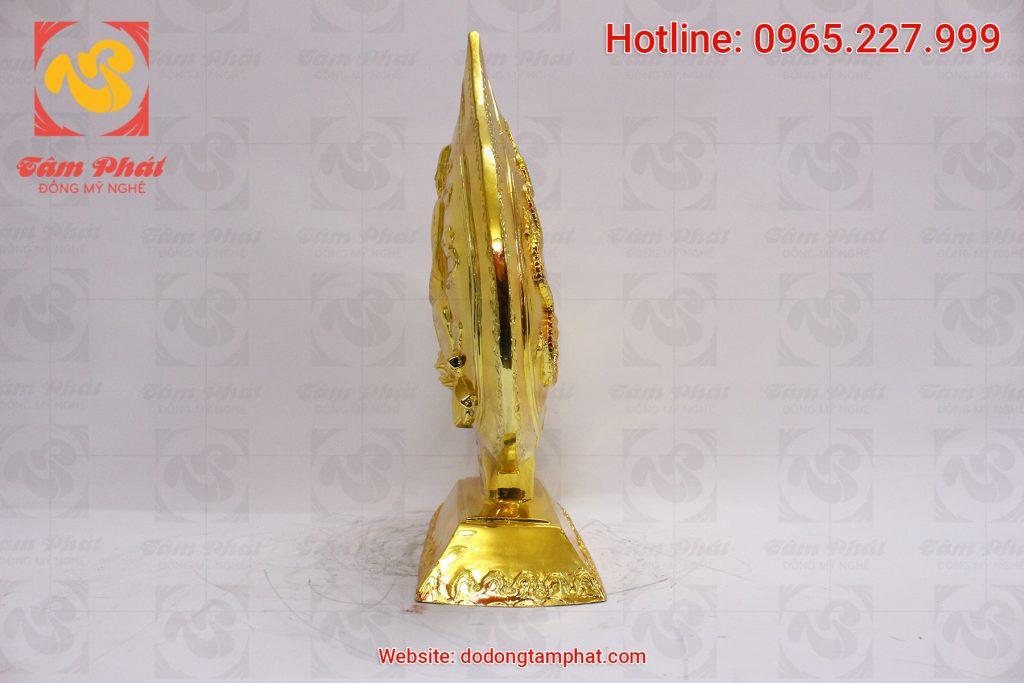 Mặt đứng tượng đồng lá đề phật hoàng Trần Nhân Tông