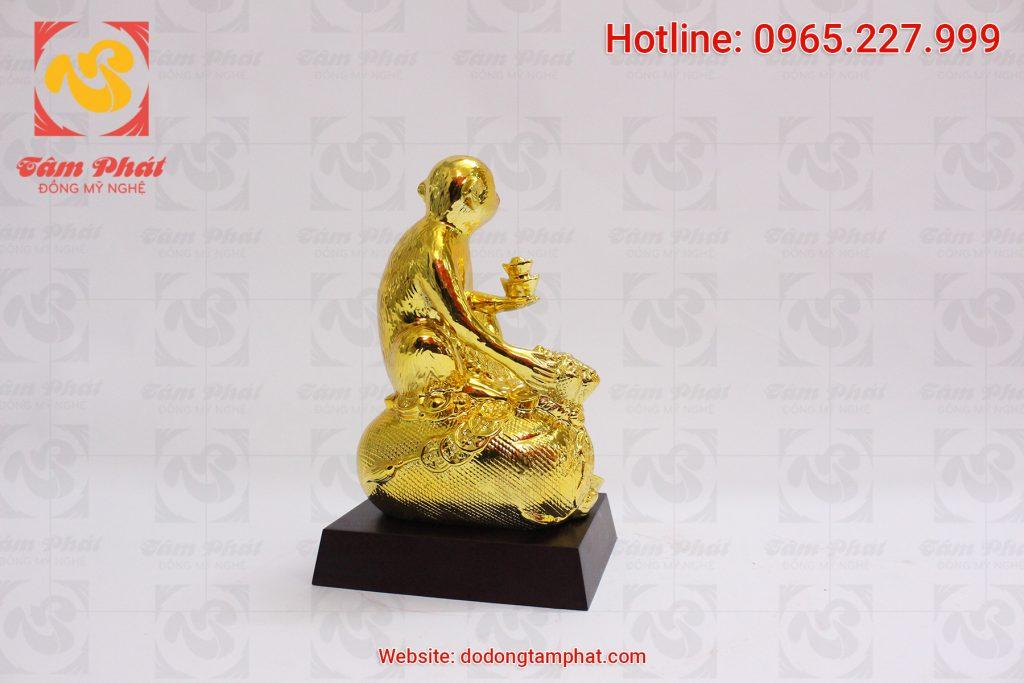 Mặt sau Khỉ đồng mạ vàng 24k