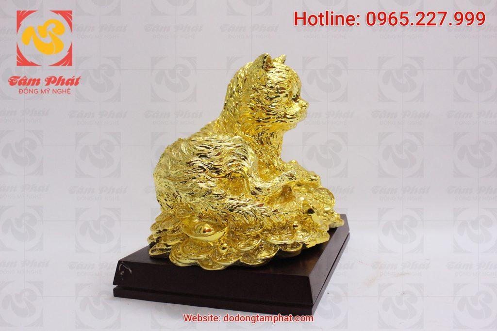 Mèo đồng mạ vàng 24k