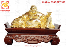 Tượng Phật Di Lặc mạ vàng 24K cao 20 cm rộng 40 cm