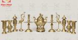Bộ đồ thờ đồng vàng mộc mạ, nét đẹp giản dị mà sang trọng.