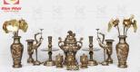 Giá tham khảo bộ đồ thờ đồng đỏ khảm tam khí – Đồng mỹ nghệ Tâm Phát