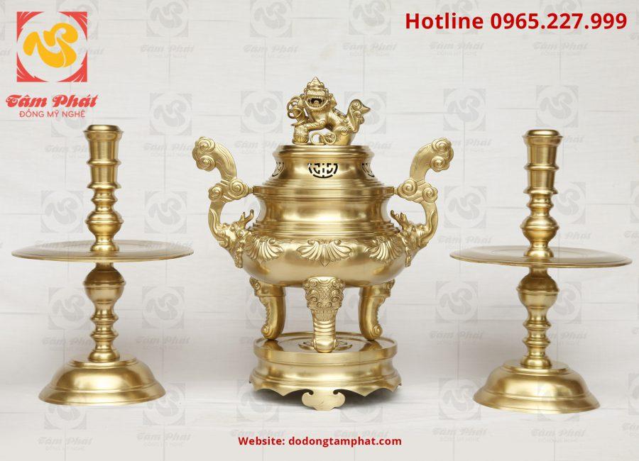 Đỉnh đồng vàng cát tút cao 60cm thờ cúng trong gia đình
