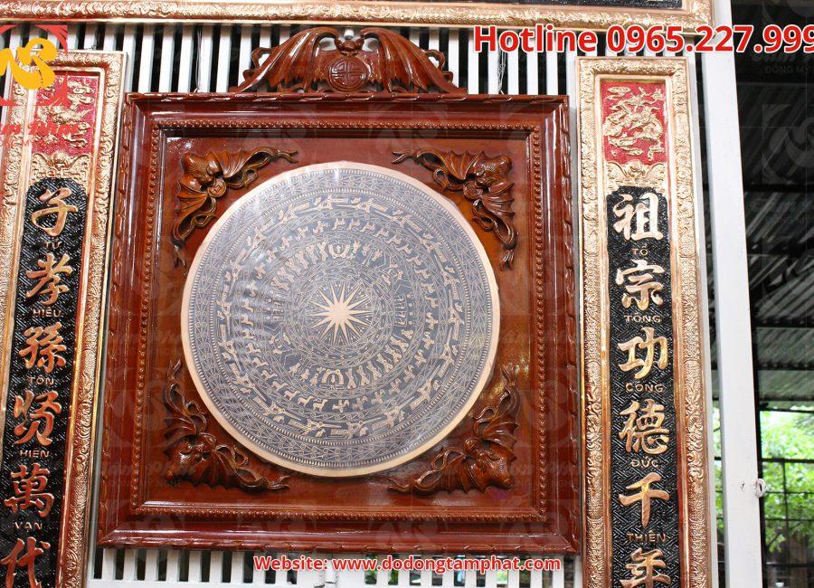 Mặt trống đồng đường kính 50cm treo khung gỗ cực sang trọng