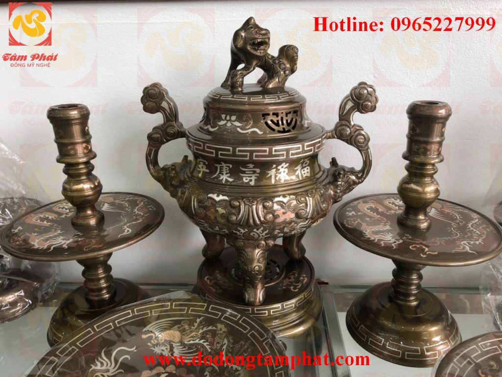 Bộ đồ thờ khảm tam khí cao cấp tại Ý Yên, Nam Định