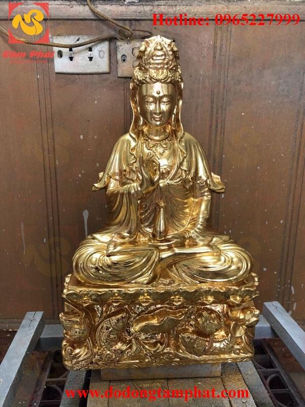 Tượng đồng Quan Thế Âm Bồ Tát thiếp vàng 9999 cực tinh xảo tại Tâm Phát