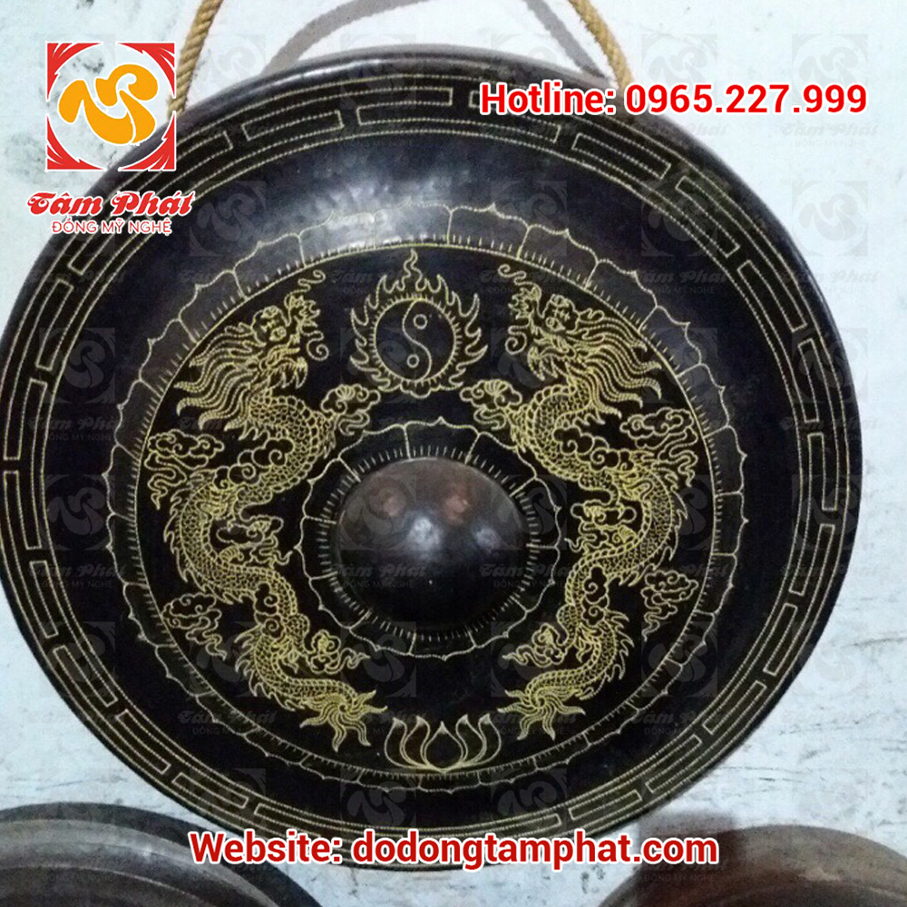 Chiêng đồng rồng phượng đường kính 60cm Tâm Phát