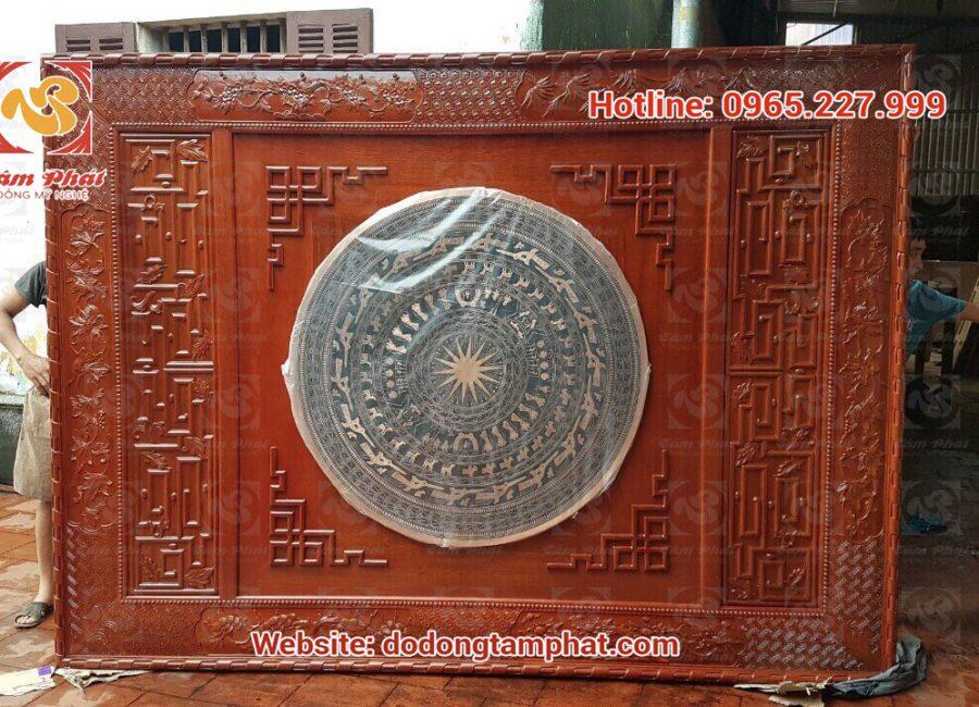 Mặt trống đồng khung gỗ gụ đường kính 1m treo tường