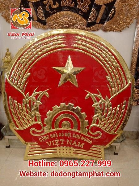 quốc huy nước cộng hòa xã hội chủ nghĩa Việt Nam đồng đỏ mạ vàng