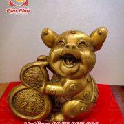 Linh vật lợn đồng cao 20cm mang tiền tài đến với gia chủ