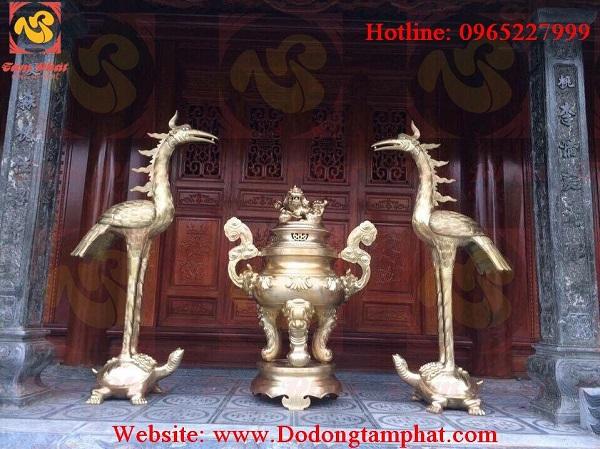 Hạc thờ cỡ lớn cao 2m2 đúc từ đồng vàng cao cấp