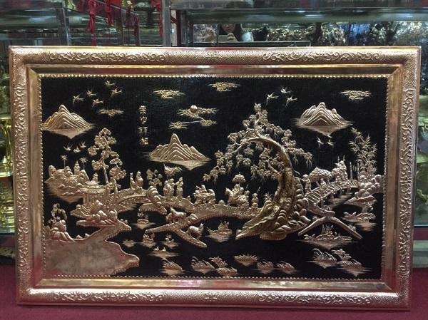 Tranh đồng Vinh Quy Bái Tổ mạ vàng kích thước 1m5