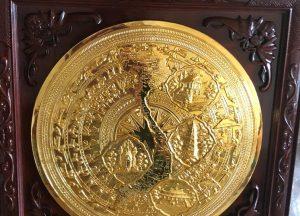 Tranh mặt trống đồng mạ vàng 24k đúc nổi bản đồ Việt Nam