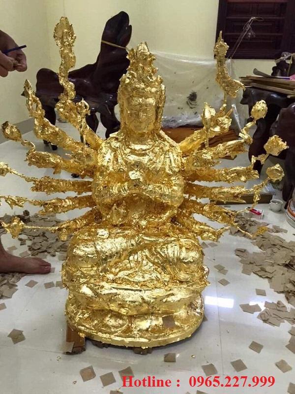 Tượng đồng Phật Bà Quan Âm nghìn mắt nghìn tay mạ vàng, cao 46cm