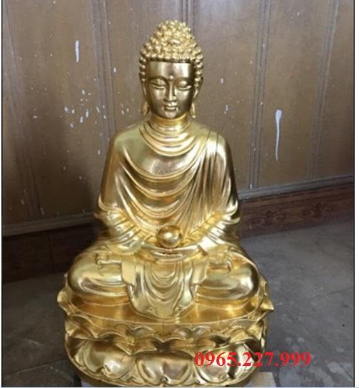 Tượng đồng Phật Thích Ca Mâu Ni ngồi thiền cao 60cm, mạ vàng