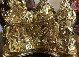 Tượng Tam Đa Phúc Lộc Thọ bằng đồng mạ vàng, cao 22cm