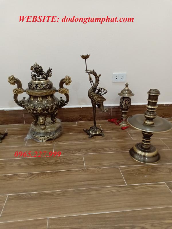 Bộ ngũ sự đồng vàng thúc nổi đại tự Phúc Lộc Thọ cao 50cm
