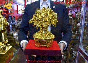 Cây tiền chiêu lộc bằng đồng thếp vàng 9999 cao 35cm