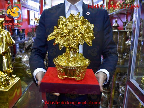Vàng 9999: Cây Tiền Chiêu Lộc Bằng đồng Thếp Vàng 9999 Cao 35cm