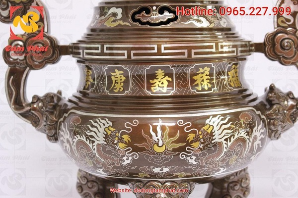 Đỉnh đồng khảm ngũ sắc sang trọng, 5 chữ vàng cao 60cm