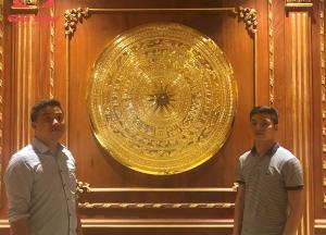 Mặt trống đồng thếp vàng 9999 đường kính 1m