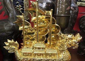 Thuyền Rồng mạ vàng tinh khiết đẹp tôn nghiêm