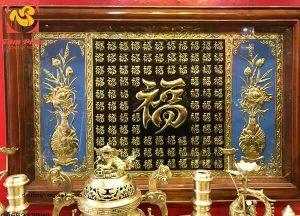 Tranh đồng Vạn Phúc thếp vàng 9999 tinh xảo