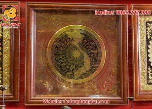 Tranh mặt trống đồng loại nhỏ, khung gỗ kính sang trọng