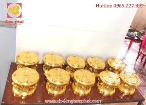 Trống đồng Ngọc Lũ đường kính 30cm thếp vàng - quà tặng sự kiện cao cấp