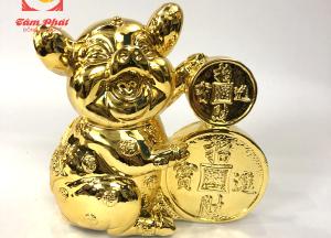 Tượng heo ôm tiền xu cổ bằng đồng mạ vàng 24k
