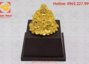 Tượng Phật Di Lặc mạ vàng đế gỗ quà tặng phong thủy ý nghĩa