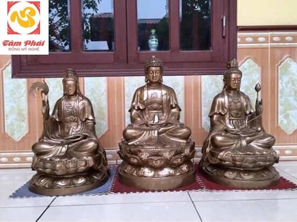 Bộ tượng Tam Thế Phật bằng đồng đỏ hun đen kích thước đa dạng