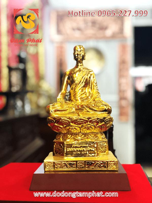 Tượng đồng Phật hoàng Trần Nhân Tông cỡ nhỏ, thếp vàng 9999