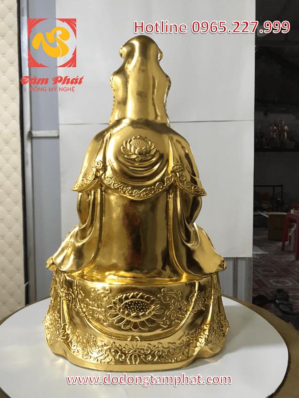 Tượng đồng Quán Thế Âm Bồ Tát cao 55cm, thếp vàng 9999