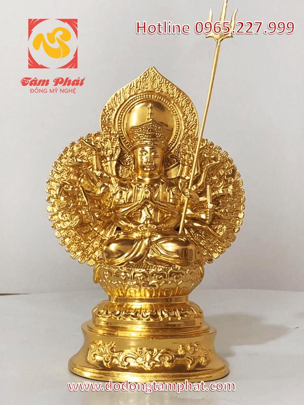 Tượng Phật bà Quan Âm Thiên Thủ Thiên Nhãn cao 30cm bằng đồng thếp vàng
