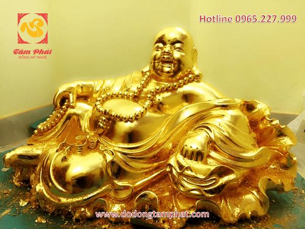 Tượng Phật Di Lặc ngồi thếp vàng 9999 đẹp mắt, cao 30cm