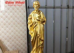 Tượng Thánh Giuse cầm cành huệ thếp vàng