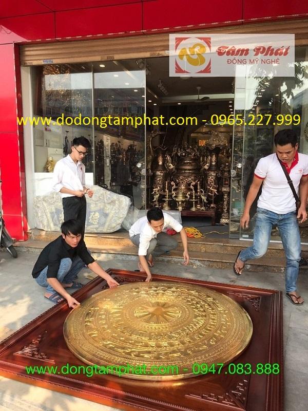 Tranh mặt trống đồng thếp vàng khung gỗ khổ lớn
