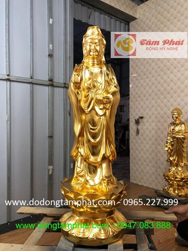 Bộ tượng Di Đà tam tôn thếp vàng tinh xảo