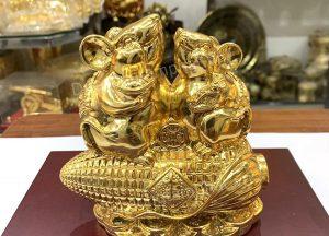 Đôi chuột phong thủy bên bắp ngô mạ vàng tinh xảo