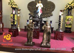 Bộ tượng đồng Công giáo hun xuống màu đẹp trang nghiêm