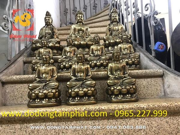 Tượng Đức Phật và Bồ Tát bằng đồng xuống màu đẹp cổ kính