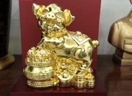 Linh vật lợn thiếp vàng 9999 cao cấp